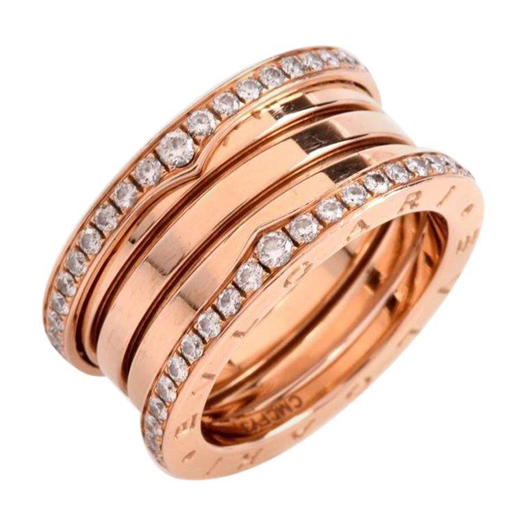 8b37a52e4ef79 Bvlgari B Zero Diamond 18 Karat Rose Gold Band Ring For Sale at 1stdibs