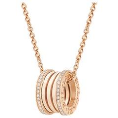 Bvlgari B. Zero Necklace in 18 Karat Rose Gold, Diamond Paved