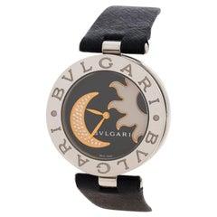 Bvlgari B. Zero1 Black Sun & Moon Diamond Inlay Motif BZ 35 S Women's Watch 35MM
