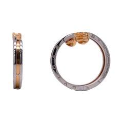 Bvlgari B. Zero1 Hoop Earrings 18 Karat Rose Gold Stainless Steel