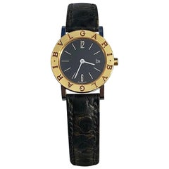 Bvlgari BB26 SLG Gold Dial Black Leather Strap Watch