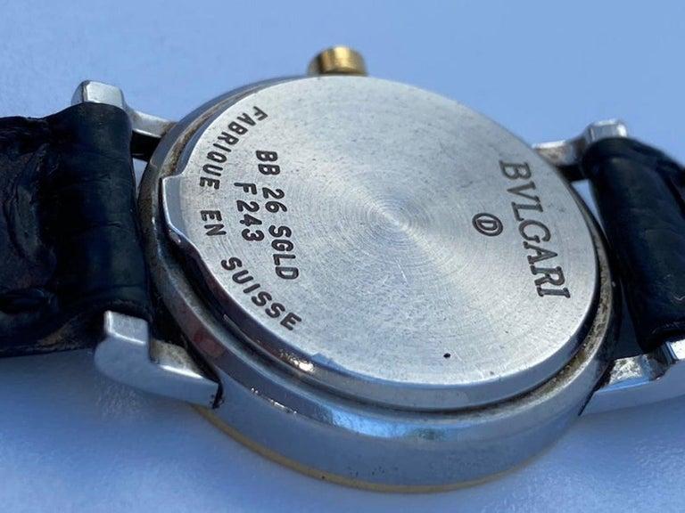 Modern Bvlgari BB26 SLG Gold Dial Black Leather Strap Watch Unisex Bvlgari Wristwatch For Sale