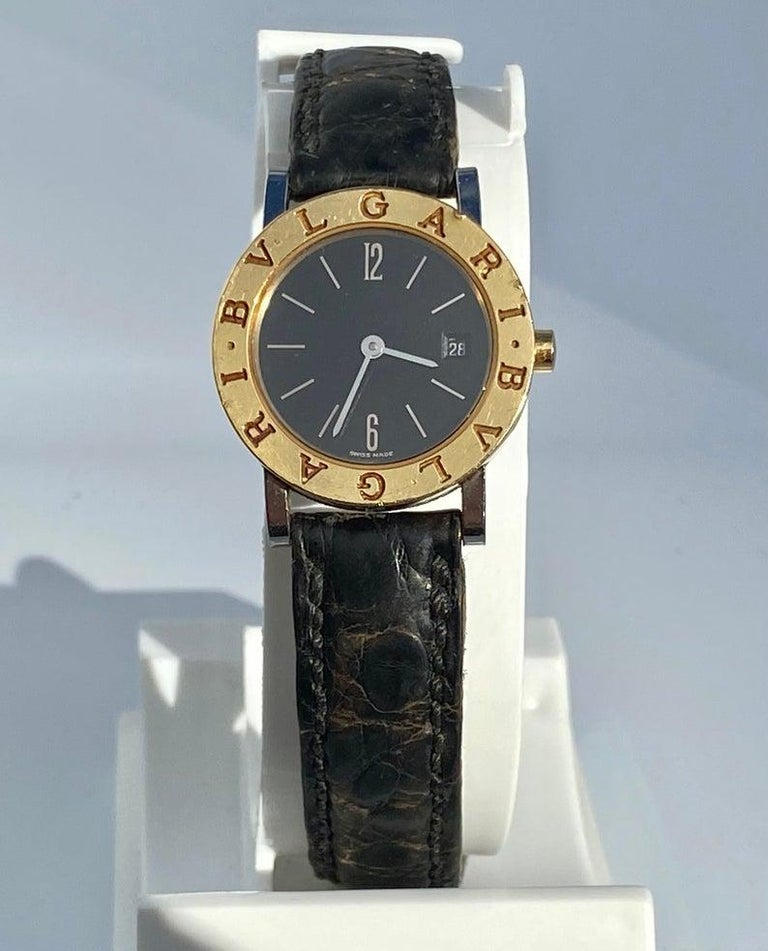 Bvlgari BB26 SLG Gold Dial Black Leather Strap Watch Unisex Bvlgari Wristwatch In Good Condition For Sale In Miami, FL