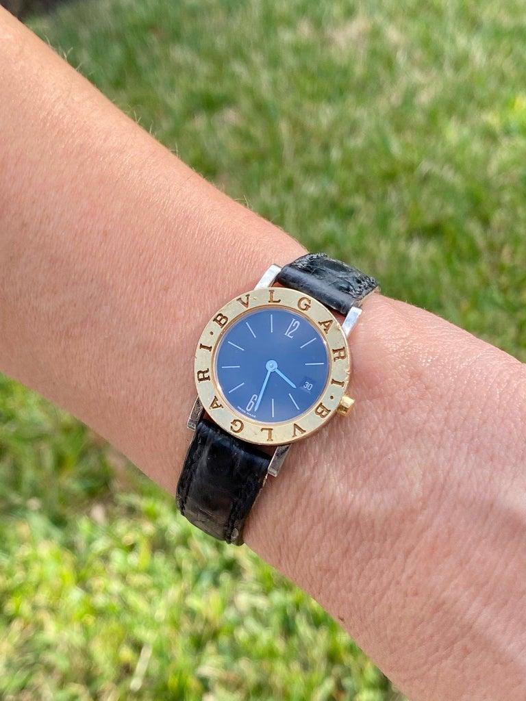 Women's or Men's Bvlgari BB26 SLG Gold Dial Black Leather Strap Watch Unisex Bvlgari Wristwatch For Sale