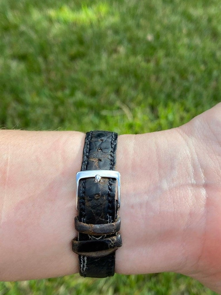 Bvlgari BB26 SLG Gold Dial Black Leather Strap Watch Unisex Bvlgari Wristwatch For Sale 1