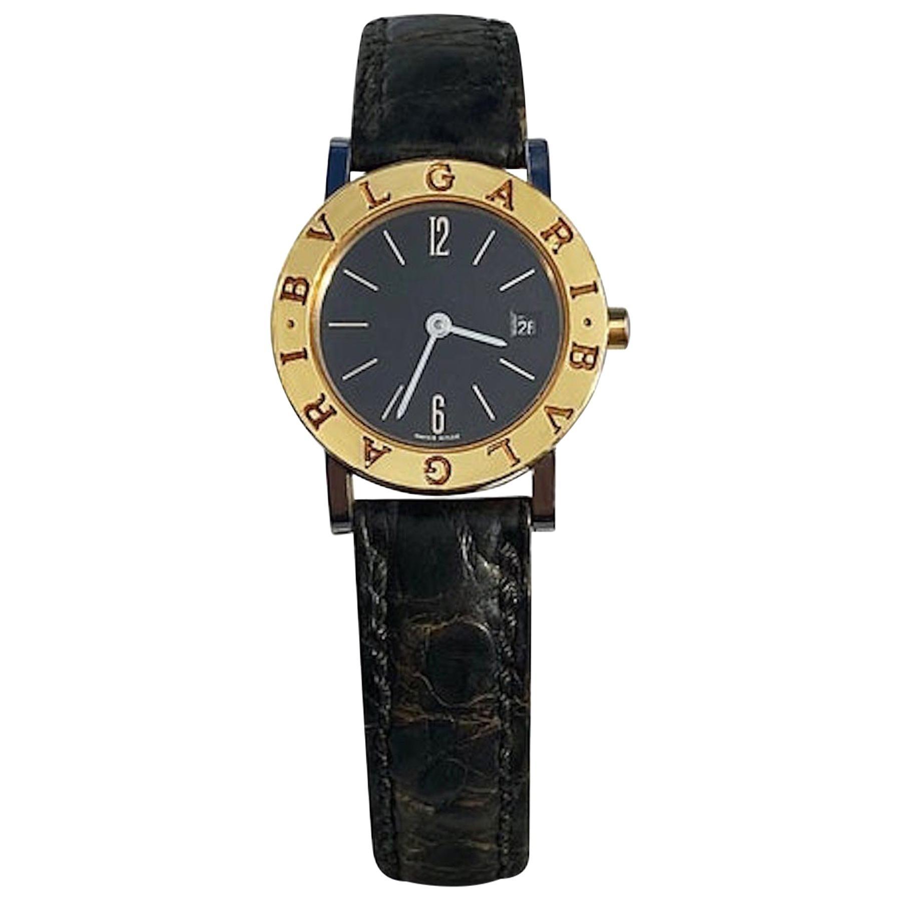 Bvlgari BB26 SLG Gold Dial Black Leather Strap Watch Unisex Bvlgari Wristwatch