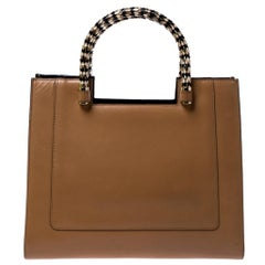 Bvlgari Beige/Black Leather Serpenti Scaglie Tote