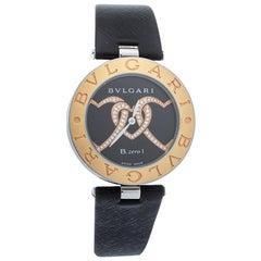 Bvlgari Black 18K Gold Leather Diamonds B.Zero1 S Quartz Women's Wristwatch 35MM