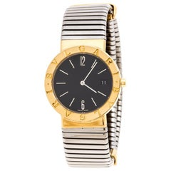 Bvlgari Black 18K Yellow Gold and Stainless Steel Tubogas Women's Wristwatch30MM