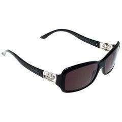 Bvlgari Black 8021-B Crystal Embellished Rectangular Sunglasses