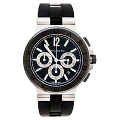 Bvlgari Black Ceramic Steel Rubber Diagono DG42SCCH Men's Wristwatch 42 mm