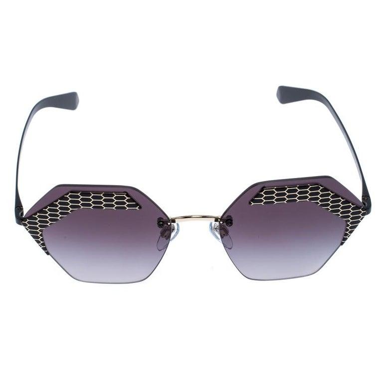 Bvlgari Black/Grey Gradient 6103 Serpenteyes Geometric Sunglasses For Sale 1
