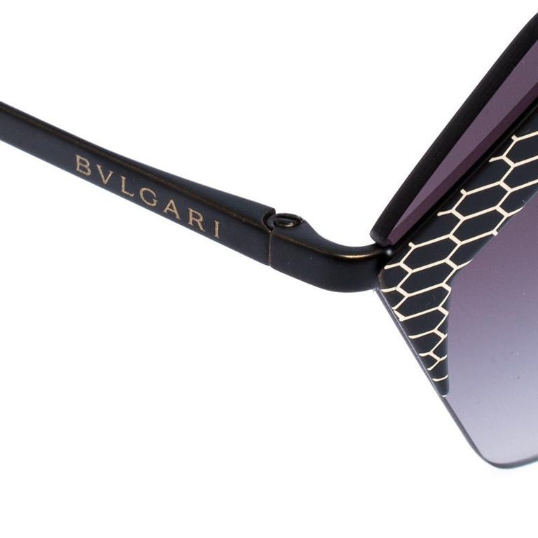 Bvlgari Black/Grey Gradient 6103 Serpenteyes Geometric Sunglasses For Sale 2