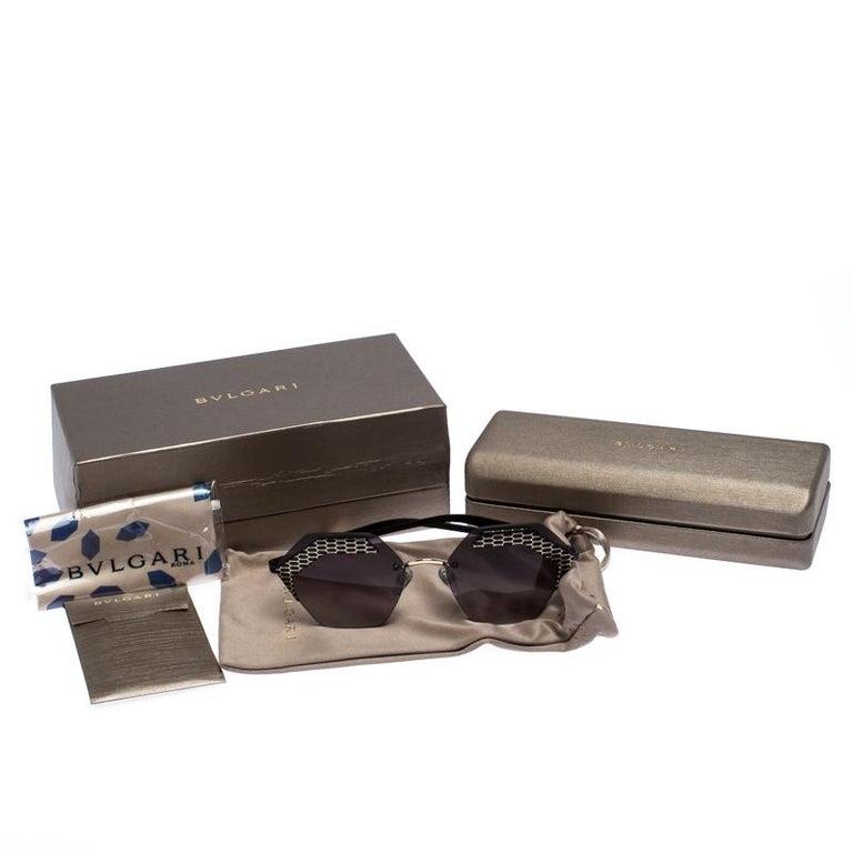 Bvlgari Black/Grey Gradient 6103 Serpenteyes Geometric Sunglasses For Sale 3