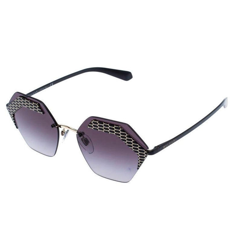 Bvlgari Black/Grey Gradient 6103 Serpenteyes Geometric Sunglasses For Sale