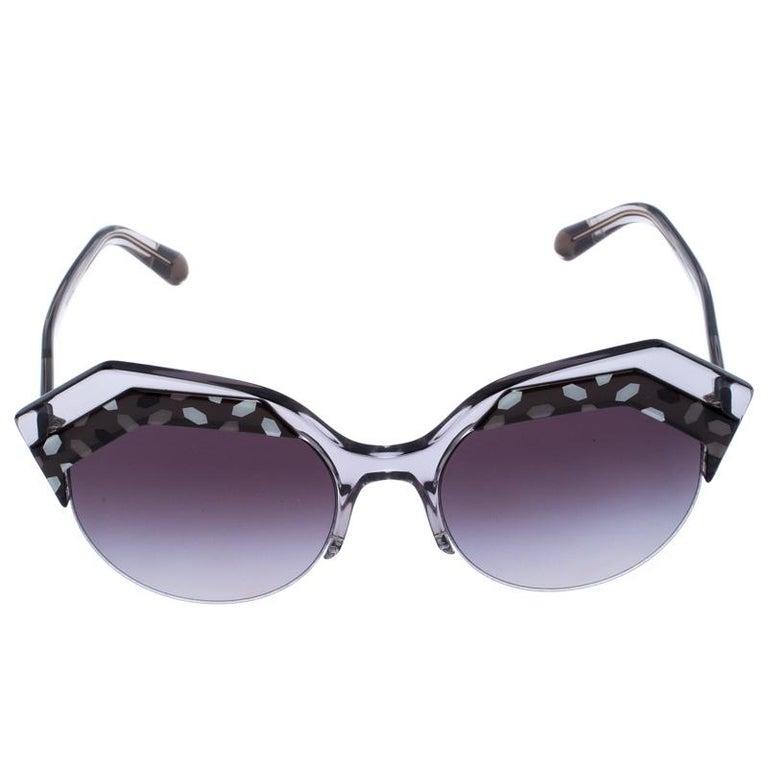 Bvlgari Black/Grey Gradient 8203 Serpenteyes Round Sunglasses For Sale 1