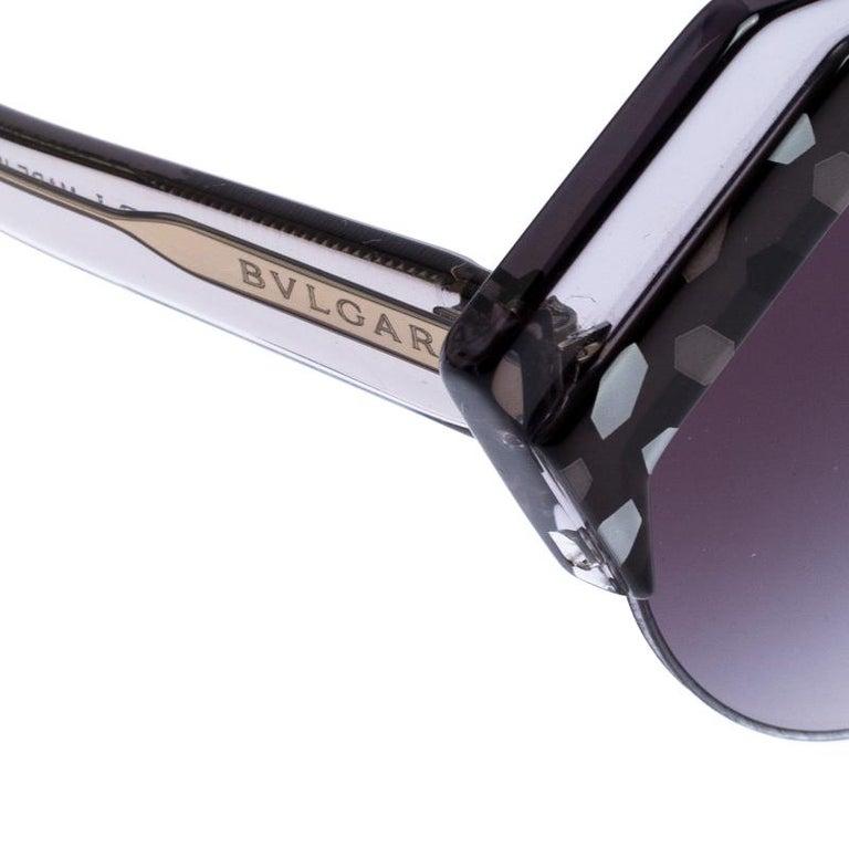 Bvlgari Black/Grey Gradient 8203 Serpenteyes Round Sunglasses For Sale 2