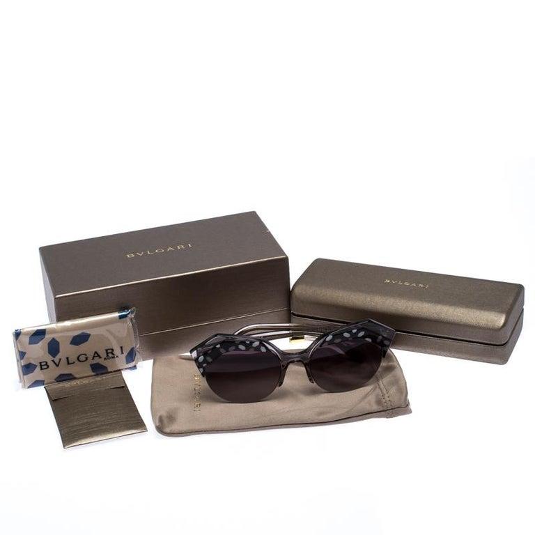 Bvlgari Black/Grey Gradient 8203 Serpenteyes Round Sunglasses For Sale 3