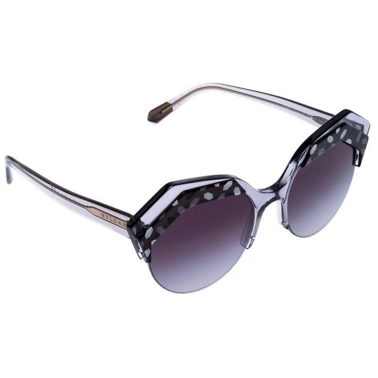 Bvlgari Black/Grey Gradient 8203 Serpenteyes Round Sunglasses For Sale