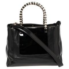 Bvlgari Black Leather and Patent Leather Serpenti Scaglie Tote