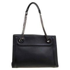 Bvlgari Black Leather Chain Shopping Tote
