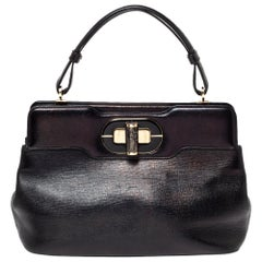 Bvlgari Black Leather Isabella Rossellini Top Handle Bag