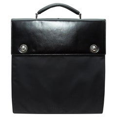 Bvlgari Black Leather & Nylon Briefcase