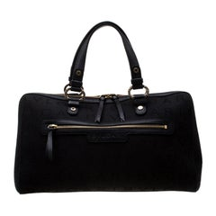 Bvlgari Black Logo Canvas Satchel