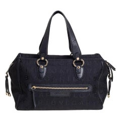 Bvlgari Black Logo Mania Canvas and Leather Boston Duffel Bag