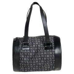 Bvlgari Black Macadam Denim and Leather Cylinder Bag