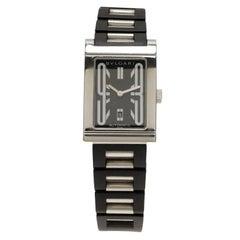 Bvlgari Black Stainless Steel Rettangolo Men's Wristwatch 27MM