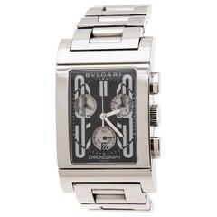 Bvlgari Black Stainless Steel Rettangolo RTC49S Chronograph Wristwatch 29 mm