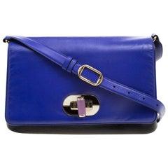 Bvlgari Blue/Black Leather Icona Shoulder Bag