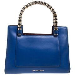 Bvlgari Blue/Burgundy Leather Scaglie Serpenti Tote