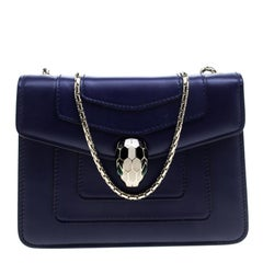 Bvlgari Blue Leather Small Serpenti Forever Shoulder Bag