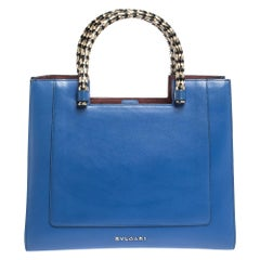 Bvlgari Blue/Maroon Leather Serpenti Scaglie Tote
