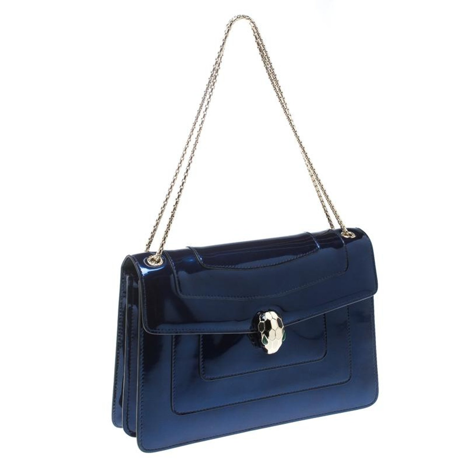 Bvlgari Blue Patent Leather Medium Serpenti Forever Shoulder Bag For At 1stdibs