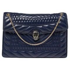 Bvlgari Blue Quilted Scaglie Leather Medium Serpenti Forever Shoulder Bag