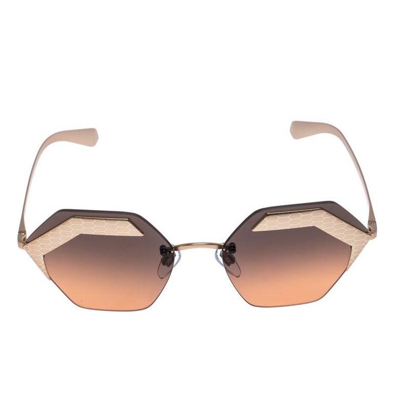 Bvlgari Bronze/Black Gradient 6103 Serpenteyes Geometric Sunglasses For Sale 2