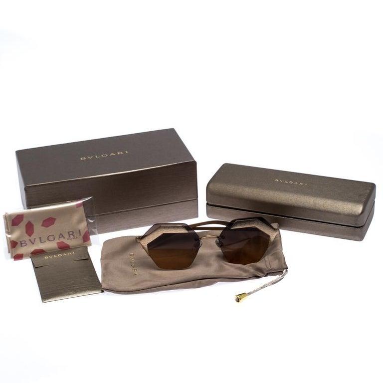 Bvlgari Bronze/Black Gradient 6103 Serpenteyes Geometric Sunglasses For Sale 3