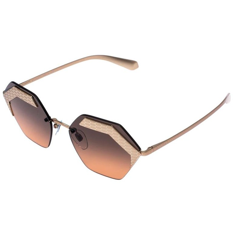 Bvlgari Bronze/Black Gradient 6103 Serpenteyes Geometric Sunglasses For Sale