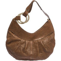 Bvlgari Brown Pleated Leather Hobo