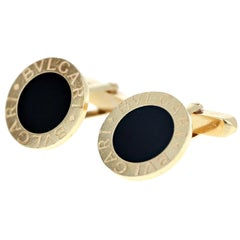 Bvlgari Bulgari 18 Karat Yellow Gold and Black Onyx Cufflinks 13.8g