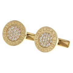Bvlgari Bulgari 18k Yellow Gold & Diamond Cufflinks 13g