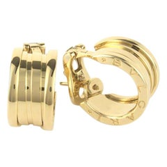 Bvlgari Bulgari B.Zero1 18 Karat Yellow Gold Hoop Stud Earrings with Box