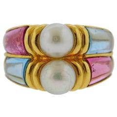 Bvlgari Bulgari Gold Pearl Topaz Tourmaline Ring