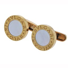 Bvlgari Bulgari Mother of Pearl Gold Cufflinks