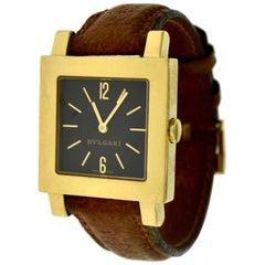 Bvlgari Bulgari Quadrato Ladies Yellow Gold on Leather Strap Watch