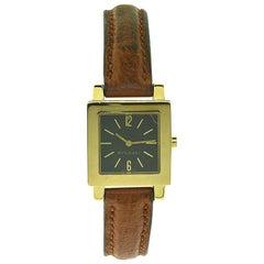 Bvlgari Bulgari Quadrato Ladies Yellow Gold Watch on Leather Strap, Watch