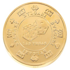 "Bvlgari Bulgari Sterling Silver-Gilt Oversized Casino Paperweight Coin ""Vegas"""